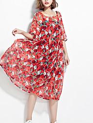 cheap -Women's Boho Swing Dress - Geometric Red One-Size
