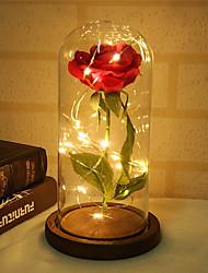 Недорогие -1шт красавица и зверь роза и свет с опавшими лепестками в стеклянном куполе на деревянной основе подарят ей - праздник, день рождения, свадьба