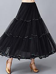 저렴한 -볼륨 댄스 하위 여성용 트레이닝 / 성능 폴리에스테르 루시 주름 장식 / 크리스탈 / 라인석 높음 치마