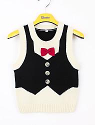 お買い得  -子供 / 幼児 男の子 ベーシック パッチワーク リボン ノースリーブ アクリル ブラウス ブラック