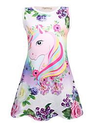 Недорогие -Дети Девочки Симпатичные Стиль Unicorn Мультипликация Без рукавов Выше колена Платье Лиловый