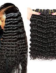 billige -4 pakker Brasiliansk hår Dyp Bølge Remy Menneskehår Menneskehår Vevet Bundle Hair En Pack Solution 8-28inch Naturlig Farge Hårvever med menneskehår Myk Beste kvalitet Ny ankomst Hairextensions med