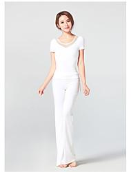 ราคาถูก -ชุดกีฬา Outfits / Yoga สำหรับผู้หญิง การฝึกอบรม / Performance วิสโคส ข้อต่อ แขนสั้น สูง Top / กางเกง