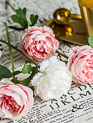 Χαμηλού Κόστους -Ψεύτικα λουλούδια 5 Κλαδί Κλασσικό Γάμος Λουλούδια Γάμου Τριαντάφυλλα Αιώνια Λουλούδια Λουλούδι για Τραπέζι