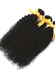 billige -3 Bundler Peruviansk hår Krøllet Kinky Curly Ubehandlet Menneskehår Hovedstykke Menneskehår, Bølget Udvidelse 8-28 inch Sort Naturlig Farve Menneskehår Vævninger Silkeagtig Bedste kvalitet Ny ankomst