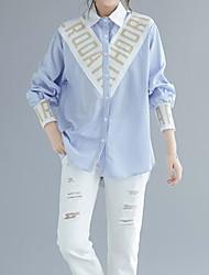 baratos -Mulheres Camisa Social Listrado Colarinho de Camisa Delgado