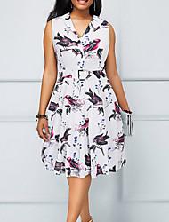 cheap -Women's Basic A Line Sheath Dress - Geometric Blue White Yellow L XL XXL
