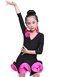 economico -Balli latino-americani / Abbigliamento da ballo per bambini Vestiti Da ragazza Addestramento Elastene Con ruche / Ondulato Manica a 3/4 Alto Abito