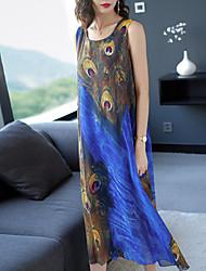 billige -kvinners midi skift kjole blå m l xl xxl