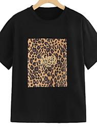 hesapli -Kadın ab / us boyutu ince tişört - geometrik / düz renkli yuvarlak boyun