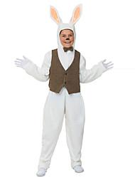billige -Rabbit Mascot påskeharen Cosplay Kostumer سترة Barne Gutt Ett Stykke Cosplay Påske Festival / høytid Polyester Hvit Karneval Kostumer Polkadotter Lapper