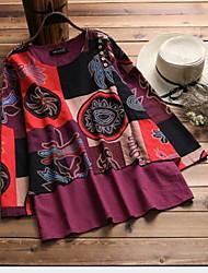 hesapli -kadın artı boyutu ince gömlek - grafik yuvarlak boyun