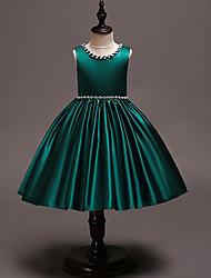 cheap -Kids / Toddler Girls' Vintage / Sweet Solid Colored Sleeveless Knee-length Dress Green