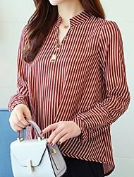 halpa -naisten paita - raidallinen pysyvä kaulus