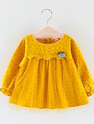 billige -Baby Jente Aktiv / Grunnleggende Trykt mønster Netting Langermet Ovenfor knéet Polyester Kjole Oransje