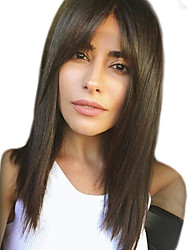 Χαμηλού Κόστους -Ανθρώπινες περούκες περούκες μαλλιών Φυσικά μαλλιά Φυσικό ευθεία Πλευρικό μέρος Μοδάτο Σχέδιο / Hot Πώληση / Άνετο Μαύρο Μακρύ Χωρίς κάλυμμα Περούκα Γυναικεία / Φυσική γραμμή των μαλλιών