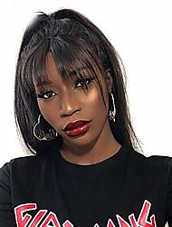 voordelige -Mensen Remy Haar Niet verwerkt Menselijk Haar 6x13 Sluiting Kanten Voorkant Pruik stijl Braziliaans haar Recht Zijde Recht Pruik 150% 250% Haardichtheid Natuurlijke haarlijn Afro-Amerikaanse pruik