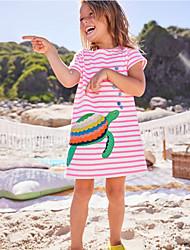 Χαμηλού Κόστους -Παιδιά Κοριτσίστικα Γλυκός Κινούμενα σχέδια Κοντομάνικο Πάνω από το Γόνατο Πολυεστέρας Φόρεμα Ανθισμένο Ροζ