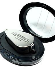Недорогие -9890 портативный мини 40 лупа увеличительное стекло триплет ювелиров глаз ювелирные изделия с бриллиантами с ультрафиолетовым светом светодиодные лампы