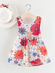 Недорогие -малыш Девочки Богемный Цветочный принт Без рукавов Платье Красный