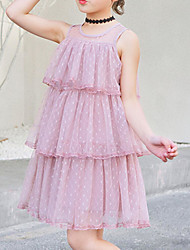 abordables -Enfants Fille Actif / Doux Points Polka / Mosaïque Multirang / Maille Sans Manches Mi-long Coton / Polyester Robe Rose Claire