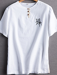 levne -Pánské - Jednobarevné Tričko Kulatý