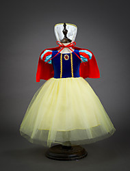 cheap -Kids / Toddler Girls' Vintage / Sweet Patchwork Short Sleeve Knee-length Dress Yellow