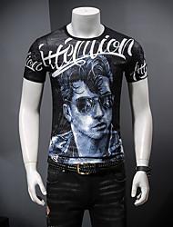 abordables -Hombre Estampado Camiseta Bloques / Retrato