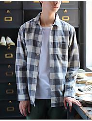 cheap -men's cotton slim shirt - striped classic collar