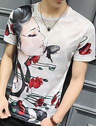 お買い得  -男性用 プリント Tシャツ 幾何学模様