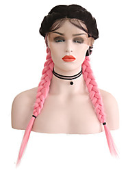 cheap -Synthetic Lace Front Wig Matte Pink Middle Part Black / Pink Synthetic Hair 24 inch Women's Adjustable / Heat Resistant / Women Pink / Ombre Wig Long Lace Front / Ombre Hair