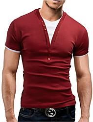 お買い得  -男性用 パッチワーク Tシャツ カラーブロック コットン ルビーレッド XL / 半袖 / 夏