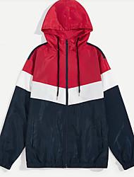 levne -Pánské Denní Jaro Standardní Bunda, Jednobarevné Kapuce Dlouhý rukáv Polyester Rubínově červená L / XL / XXL