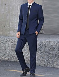 abordables -Hombre trajes, Un Color Solapa de Pico Algodón / Acrílico / Poliéster Negro / Azul Marino / Wine XXL / XXXL / XXXXL