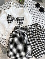 tanie -Dzieci Dla dziewczynek Podstawowy Solidne kolory Bez rękawów Regularny Regularny Bawełna Komplet odzieży Biały