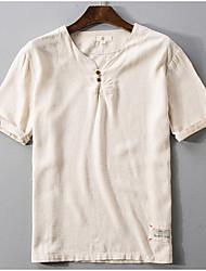 billige -V-hals T-skjorte Herre - Ensfarget