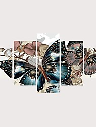 abordables -Imprimé Impressions sur toile roulées Impression sur Toile - Thème papillon Romance Contemporain Moderne Cinq Panneaux