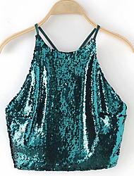 abordables -Tee-shirt Femme, Couleur Pleine Paillettes