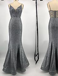 Недорогие -Русалка V-образный вырез В пол Тафта / Пайетки Платье с Пайетки от TS Couture®