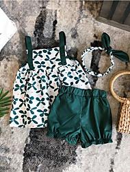 tanie -Dzieci Dla dziewczynek Podstawowy Solidne kolory Bez rękawów Regularny Regularny Bawełna Komplet odzieży Zielony