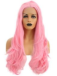 abordables -Perruque Lace Front Synthétique Ondulé Rose Partie médiane Rose Cheveux Synthétiques 24 pouce Femme Ajustable / Résistant à la chaleur / Homme Rose Perruque Long Lace Frontale
