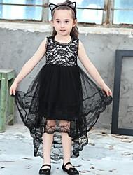 Χαμηλού Κόστους -Παιδιά Κοριτσίστικα Μονόχρωμο Πολυεστέρας Φόρεμα Μαύρο