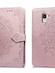 ieftine -Maska Pentru Samsung Galaxy Galaxy J6(2018) Titluar Card / Întoarce Carcasă Telefon Mată Greu PU piele pentru J6 (2018)