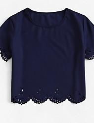 billiga -kvinna t-shirt - solidfärgad rund hals