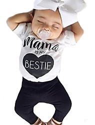 billige -Baby Jente Aktiv / Grunnleggende Geometrisk / Trykt mønster Trykt mønster Kortermet Normal Normal Bomull / Polyester Tøysett Hvit
