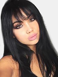 Χαμηλού Κόστους -Ανθρώπινες περούκες περούκες μαλλιών Φυσικά μαλλιά Φυσικό ευθεία Πλευρικό μέρος Μοδάτο Σχέδιο / Hot Πώληση / Άνετο Μαύρο Μακρύ Χωρίς κάλυμμα Περούκα Γυναικεία / Μαλλιά με ανταύγειες