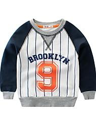 billige -Barn Gutt Grunnleggende Stripet / Trykt mønster Trykt mønster Langermet Bomull Bluse Blå