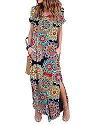 preiswerte -Damen Tunika Kleid - Rückenfrei Gespleisst, Blumen Maxi