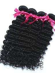 お買い得  -6バンドル マレーシアンヘア ディープ・カーリー 未処理人毛 ギフト ヘッドピース 人間の髪編む 8-28 インチ ナチュラルカラー 人間の髪織り ソフト 新参者 シルクベースヘア 人間の髪の拡張機能 女性用