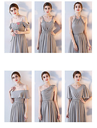 cheap -A-Line Off Shoulder Floor Length Chiffon Bridesmaid Dress with Side Draping / Ruching by LAN TING Express
